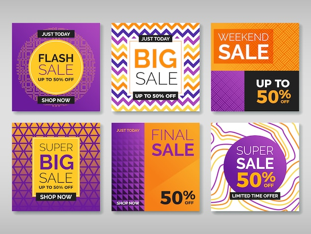 Promotion banners for social media Premium Vector