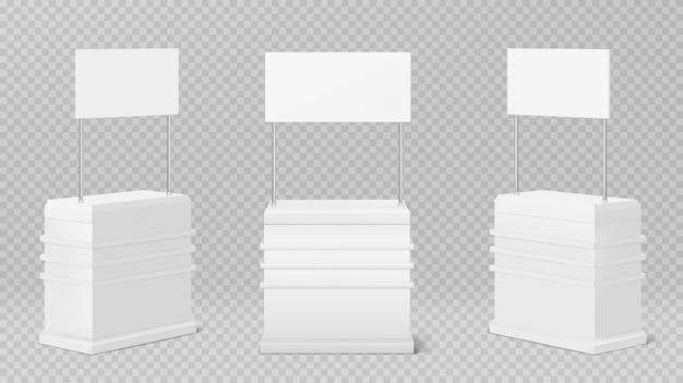 프로 모션 카운터 테이블, 투명에 고립 된 프로 모션 키오스크 무료 벡터