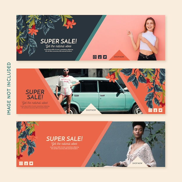 Promotion fashion banner collection Free Vector