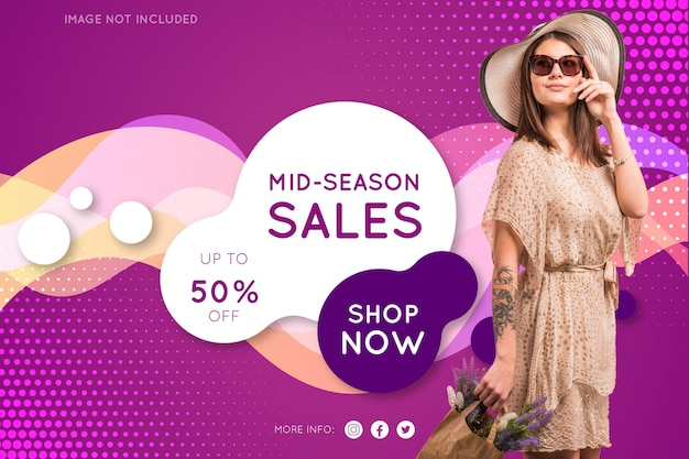 Promotion fashion banner Free Vector