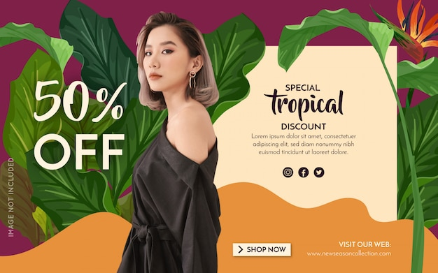 Promotion fashion tropical banner Free Vector