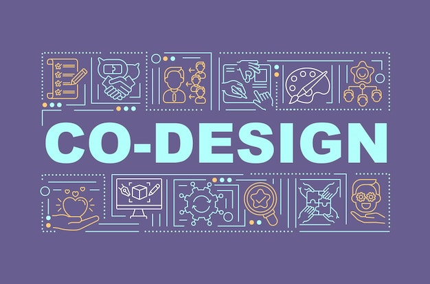 Promotion of joint ideas word concepts banner. social media, forums and online portals. infographics with linear icons on violet background. isolated typography.  outline rgb color illustration Premium Vector