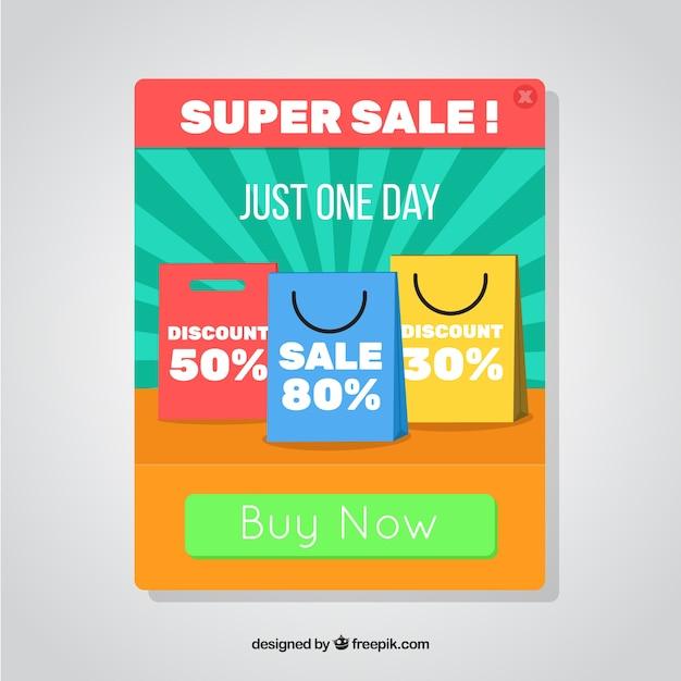 Modello pop-up di promozione con design piatto Vettore gratuito