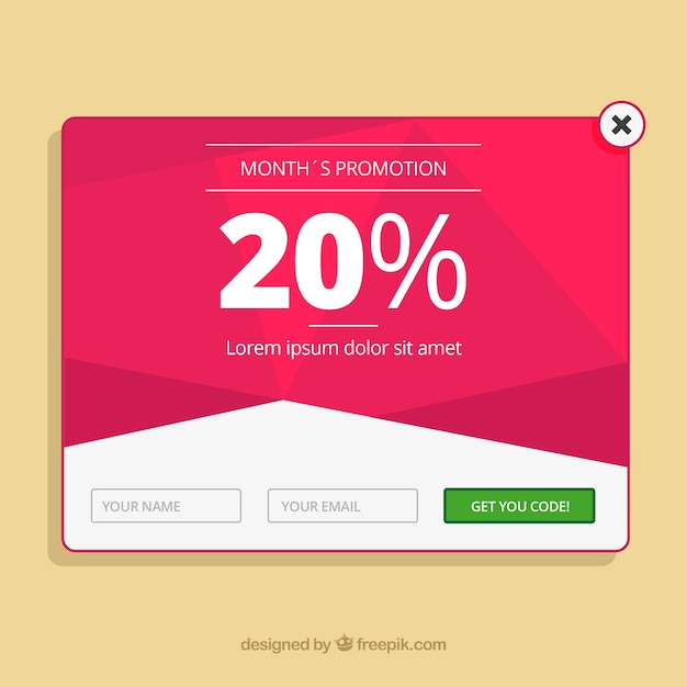 promotion pop up template with flat design vector free download