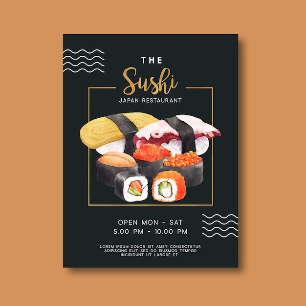 Promotion poster for sushi restaurant Free Vector