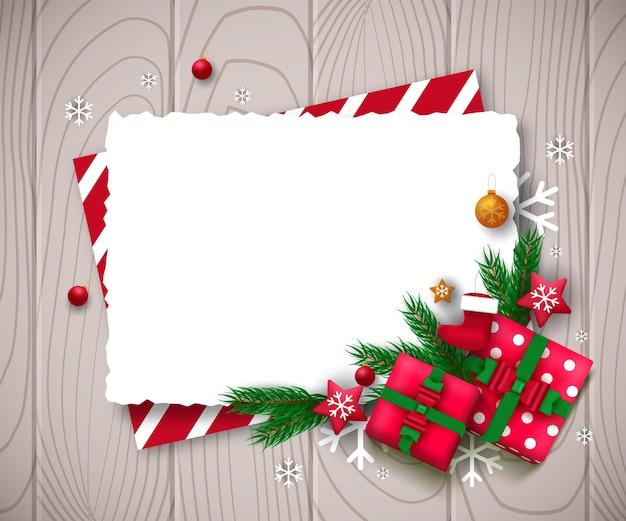 Рекламный плакат с елочными шарами, звездами, подарочными коробками, конфетти и местом для текста. Premium векторы