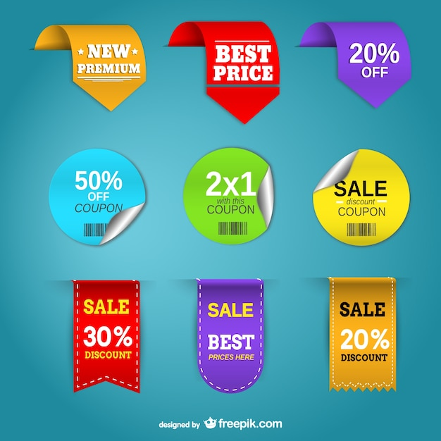Promotion price labels free vector