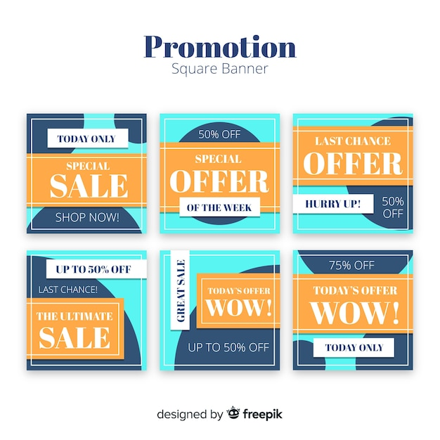 Promotion square banner collectio Free Vector