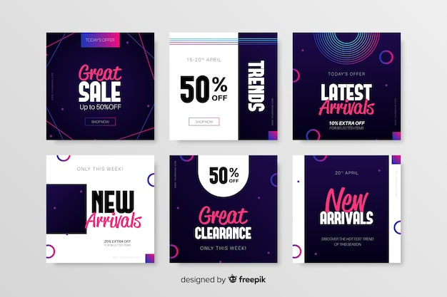 Promotion square banner collection Free Vector