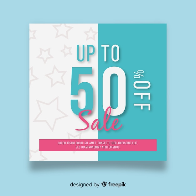 Promotion square banner Free Vector