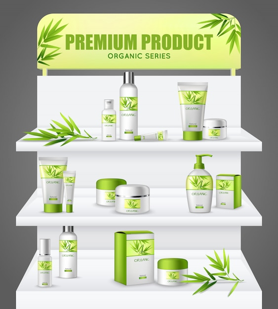 Promotion stand cosmetic products Free Vector