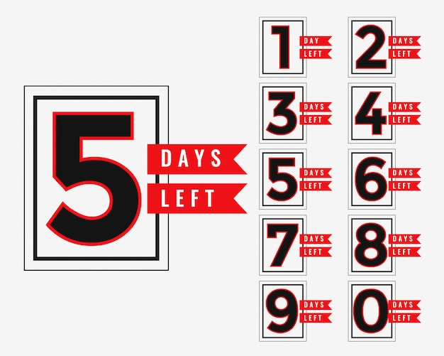 Promotional banner of number of days left Free Vector