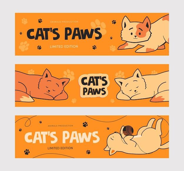 재미있는 고양이로 설정하는 홍보 배너 템플릿. 무료 벡터