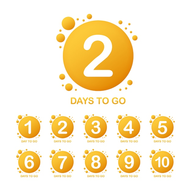 Promotional banner with number of days to go sign.  illustration. Premium Vector