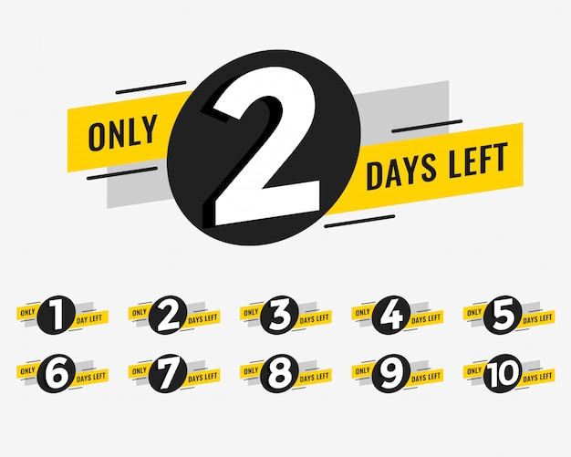 Promotional banner with number of days left sign Free Vector