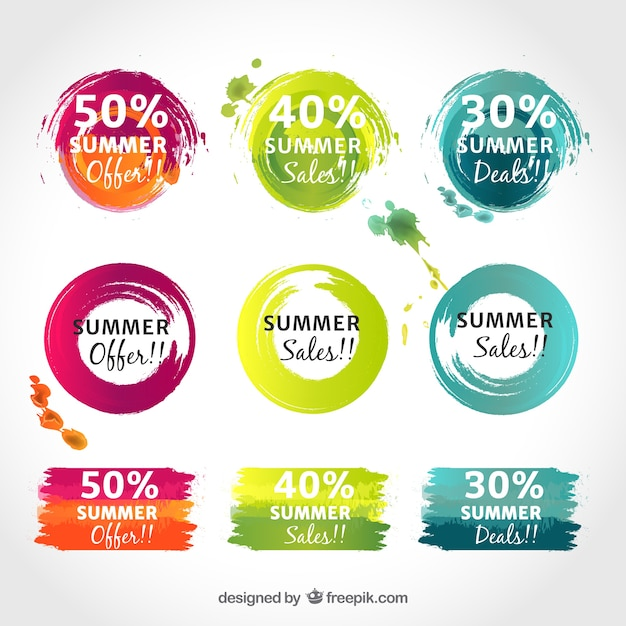 Promotional coloured stickers free vector