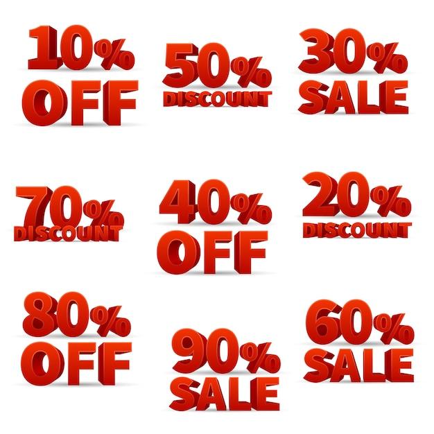Promotional discount store vector signs Premium Vector