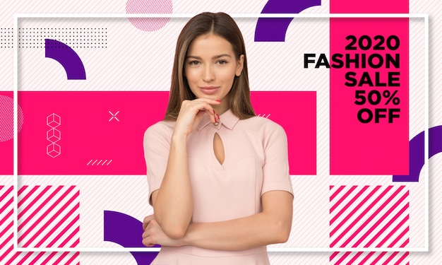 Promotional fashion sale banner template Premium Vector