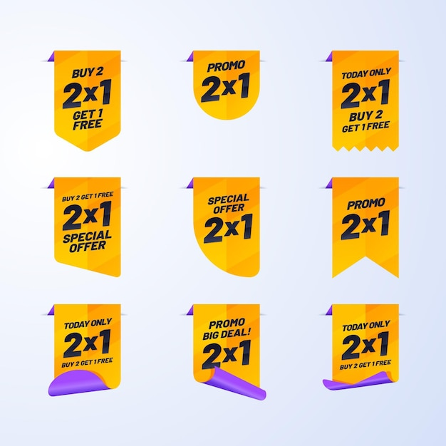 Promotional labels with special offers pack Free Vector