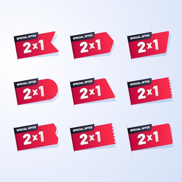 Etichette promozionali con offerte speciali impostate Vettore gratuito