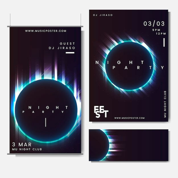 Promotional layout set Free Vector