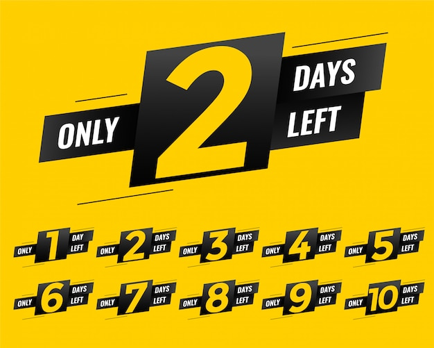 Promotional number of days left sign banner Free Vector