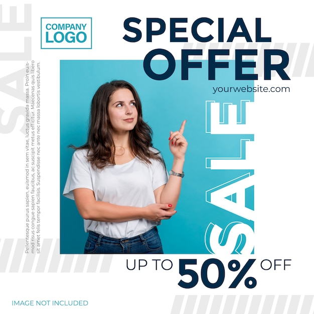 Promotional offers. template for the design of promotions for social media Premium Vector