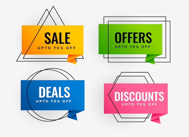 Promotional sale and banner offer tags design Free Vector