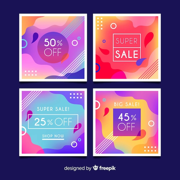Promotional square banner collection Free Vector