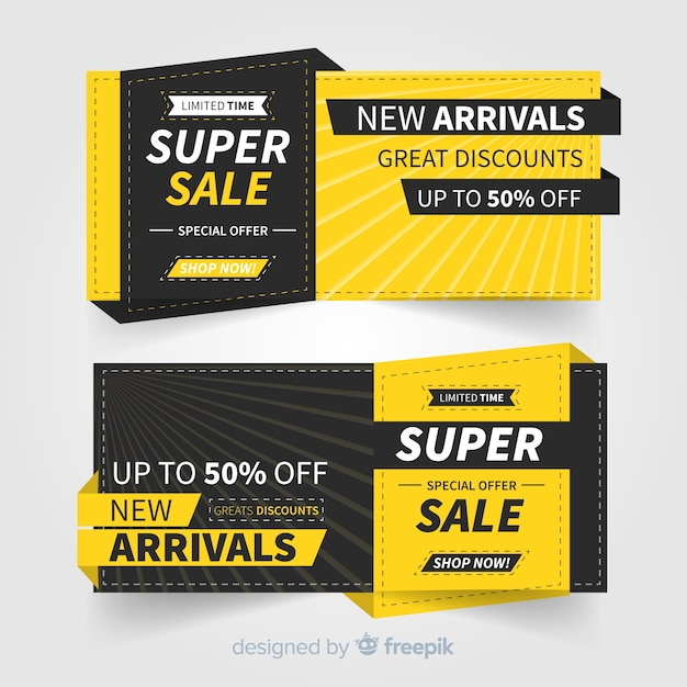 Promotional super sale banner concept Free Vector