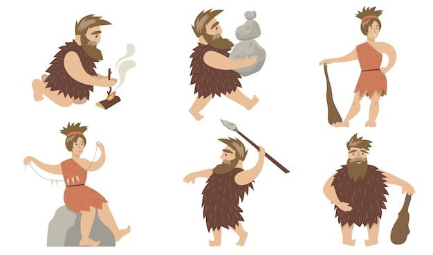 洞窟の人々を設定します。火を操り、石を運び、槍と槍で狩りをする古代の男女。原始人、人類学、先史時代 無料ベクター