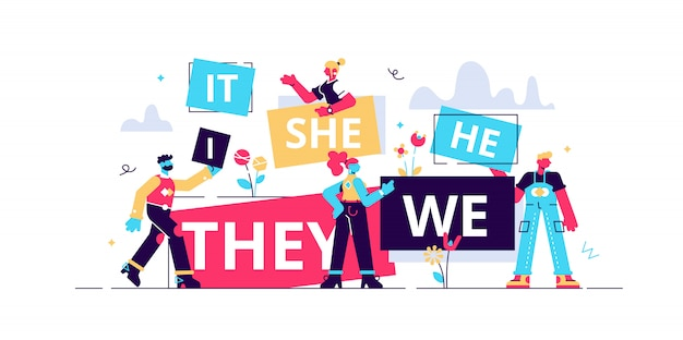 Pronouns illustration. flat tiny substitutes words person concept. abstract  fun it, she, we, they, it word banners. correct language linguistics and  grammar knowledge. part of word speech study | Premium Vector