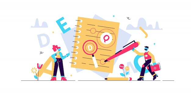 Proofreading  illustration. mini persons concept with grammar errors in newspaper manuscript.  red mistakes in text. editing and correction job in school or college. punctuation problem. Premium Vector