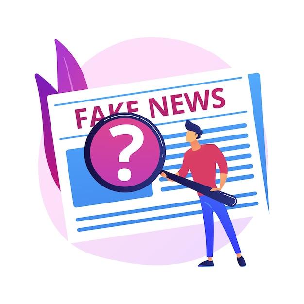 メディアでの宣伝。ニュースの捏造、誤解を招く情報、事実の操作。誤った情報を与えられた人々、偽情報が広まった。詐欺ジャーナリズム。 無料ベクター