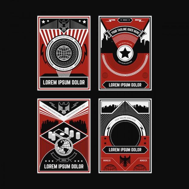 Propaganda poster collections Premium Vector