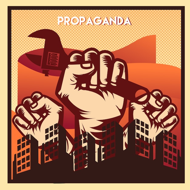 Propaganda poster Premium Vector