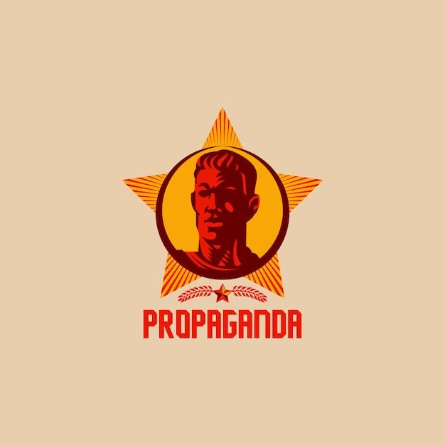 Propaganda retro revolution logo design Premium Vector