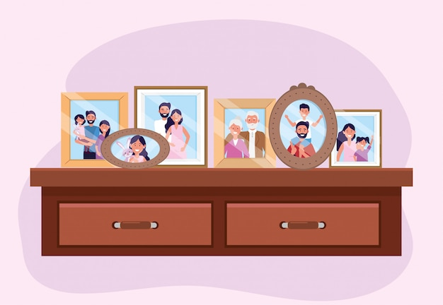 Propait with family pictures memories in the dresser Free Vector