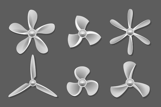 Vettore delle icone dell'elica. aria dell'elica, elica del ventilatore, ventilatore e pala, illustrazione del ventilatore dell'elica dell'attrezzatura Vettore gratuito