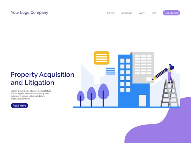 Property acquisition and litigation landing page background. Premium Vector