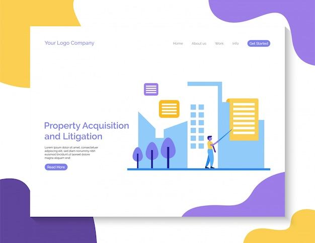 Property acquisition and litigation landing page background. Premium Vector
