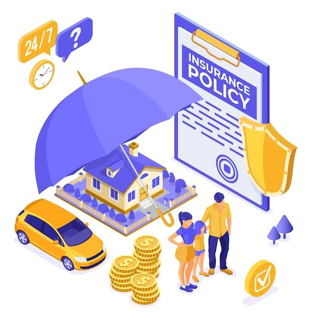Собственность, дом, автомобиль, изометрическая концепция семейного страхования Premium векторы