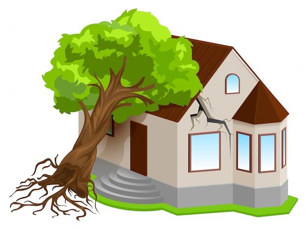 Страхование имущества от стихийных бедствий. землетрясение дерево упало на дом Premium векторы
