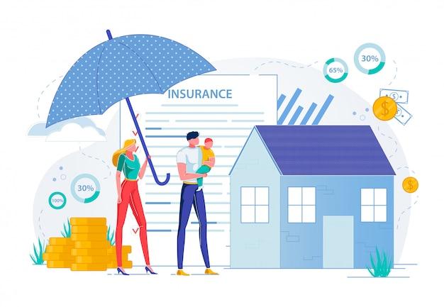 財産保険および不動産保護。 Premiumベクター