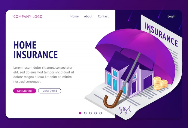 Property insurance isometric landing page banner Free Vector