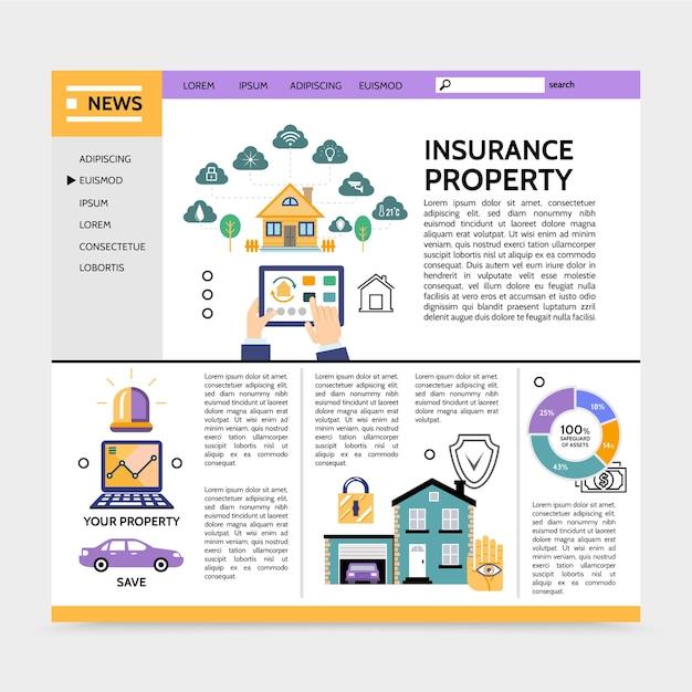 財産保険サービスのランディングページの概念 無料ベクター