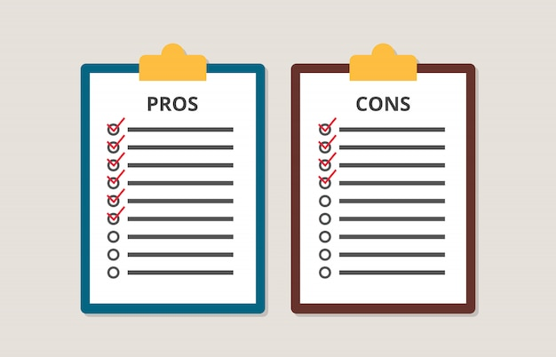 Pros and cons versus compare choice checklist in clipboard Premium Vector