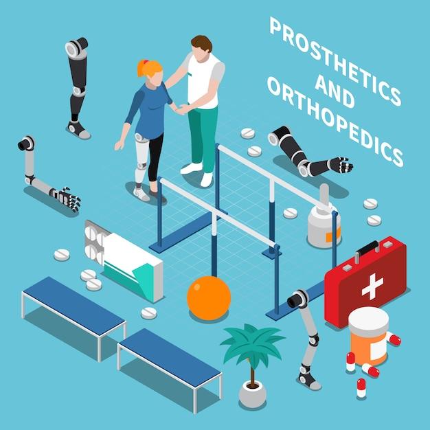Prosthetics and orthopedics isometric composition Free Vector