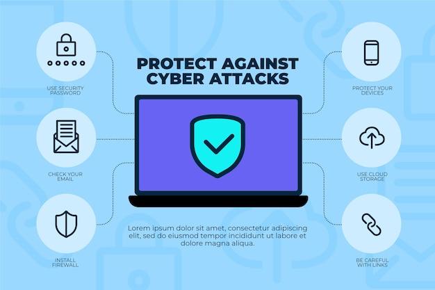 サイバー攻撃から保護するインフォグラフィック Premiumベクター
