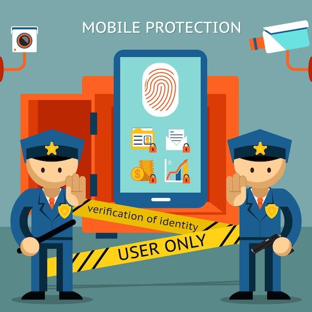 あなたの携帯電話、指紋を所有者だけに保護してください。財務上のセキュリティとデータの機密性 無料ベクター